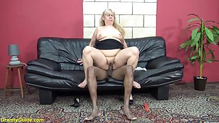 chubby 74 years old granny enjoys her first imprecise interracial big cock fucking
