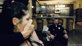 Cops have some fun with suspects and one of them turns out to be an eager slut