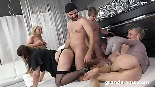 Really wild orgy with dirty like mud mature whores thirsting for orgasm