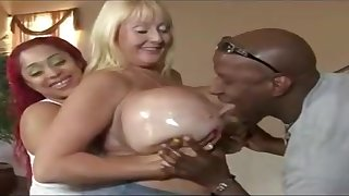 Two BBWs With Giant Boobs Enjoy Sex With Black Stud