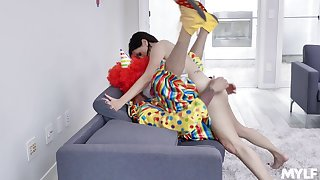 Aroused woman gets laid with the clown from her birthday party