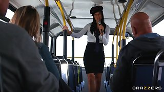 Energized women shag the same dude in a bus