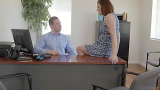 Secretary is keen to shake boss's huge dick for a raise