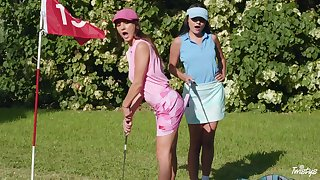 Sexual fantasy down at the golf course for two top lesbians