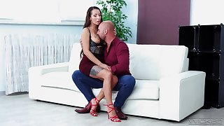 MILF on high heels, fabulous cock sucking and sex