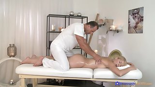 Deep missionary during massage for a curvy ass blonde