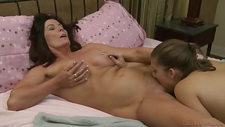 Seductive home play between the young slut and her step mom