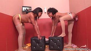 Glory hole hardcore seduction for two ebony ladies