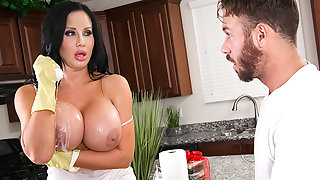 Busty MILF, Sybil Stallone, gets a juicy creampie from the delivery man