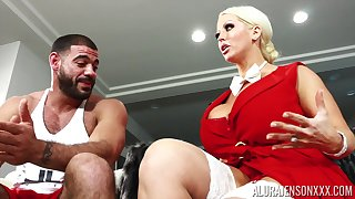 Alura's huge breasts are hard to conceal and that MILF fucks like a champ