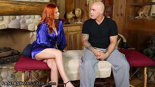 Alluring ginger masseuse Edyn Blair treats Derrick Pierce with nice cock massage