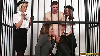 Naked man in prison gets blowjobs from Madlin Moon and 3 more babes