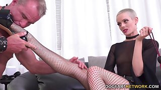 Gagged and tied up cuckold has to watch slutty bitch being fucked hard