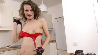 Hairy pussy amateur Princess Mustang spreads her legs in the kitchen