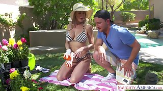 Gardening with super hot mature woman in bikini Brandi Love