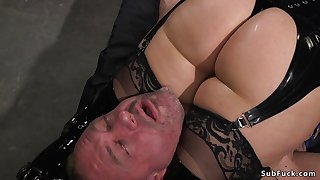 Mom fuck up puff up in the matter of latex anal hardcore bangs slave