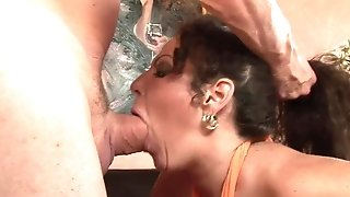 Big-boobed mummy cleans a man sausage with her hatch after a directly shag best porn