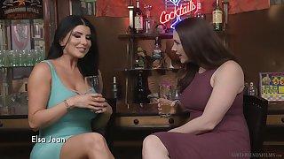 Long haired lesbian brunette MILF porn stars Romi Rain and Kate Kennedy