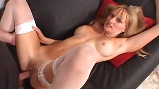 MILF in white stockings swallows cum close to inspect a hardcore fuck