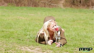 Horny teen lesbian soldiers Chrissy Sod and Bambi Bell pussy the fate of