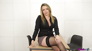Sexy secretary Penny L gets naked and plays with her captivating big boobies