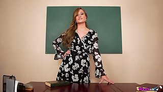 Sex teacher Honour May gets naked and shows how to jerk off hard big cock