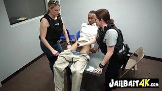 Interracial police trio - horny cop MILFs