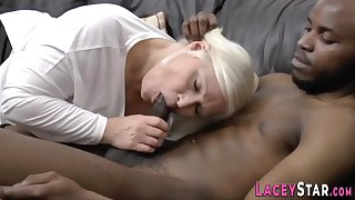 Blond granny loves to fornicate hard with black prick - interracial
