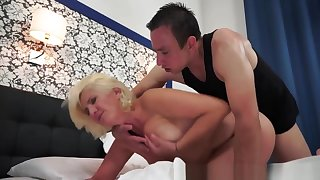 Hairy Grandma In Unmentionables Gets Cum In Mouth