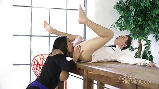 Bodacious Slovak milf Chloe Lamour gives a rimjob and wonderful titjob