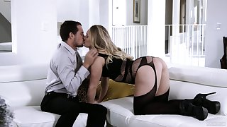 Wearing stunning black lingerie hottie AJ Applegate is made to ride fat cock