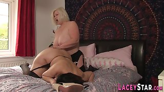 Lesbian grandmother in stockings toys milf