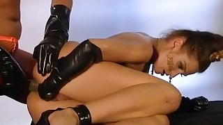 Lady Lou black latex gloves self fisting and anal fuck