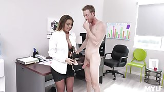 Fucking on the office table with provocative secretary Brooklyn Chase