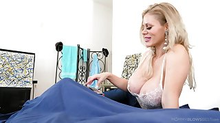 Amazing big breasted blonde MILF Casca Akashova feels great to give BJ