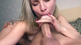 Step sister sucks step brother dick for a very long time