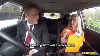 Blonde lady, Georgie Lyall is fucking her driving teacher, in the back of a car