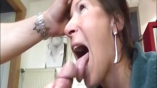 Hot milf give handjob blowjob to a big dick and get huge facial